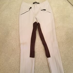 Zara white riding pants suede patch size S